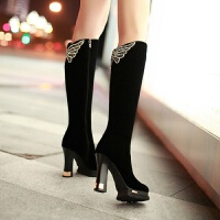 舒适好看!时尚新品秋冬新款女靴子高跟粗跟高筒靴磨砂水钻骑士靴单靴长筒靴冬天棉靴青春靓丽 (加毛)
