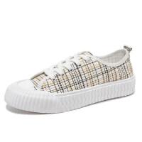 帆布鞋女�W生�n版夏季2019新款低�团�鞋板鞋百搭白球鞋�W�t小白鞋 白色 35