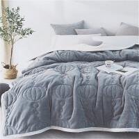 法兰绒毛毯被子加厚冬季双人盖毯10斤三层夹棉被毯保暖毯子