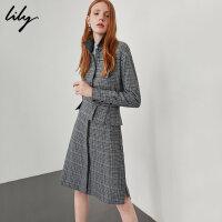 【6/4-6/8 一口价:349元】 Lily冬女装商务腰封修身格纹加厚衬衫连衣裙118439C7952