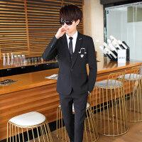 休闲西装男春秋修身韩版西服套装马甲三件套青少年小西装一套帅气