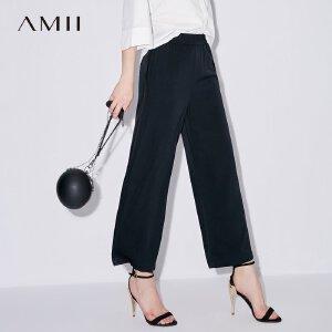 Amii[极简主义]2017夏装新款宽松休闲橡筋腰阔腿九分裤女11740945