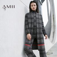 AMII[极简主义]秋冬季格子大码中长款针织毛衣外套女11681986