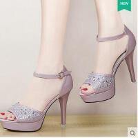 盾狐鱼嘴鞋新款夏季细跟性感一字带防水台百搭韩版夏天高跟鞋凉鞋520-7