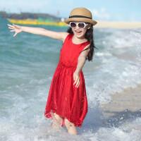 女童吊带裙儿童连衣裙沙滩裙纯色中大童休闲裙子