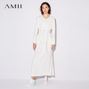 Amii[极简主义]2017秋装新款简洁圆领高开叉配腰带连衣裙11774934