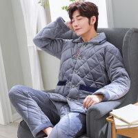 家居服秋冬款男士睡衣冬季三层厚加绒珊瑚绒夹棉套装法兰绒保暖