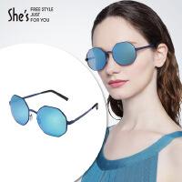 【商场同款】She's茜子 女士太阳镜女 复古圆棱八角框偏光太阳镜 合金窄框架墨镜礼物