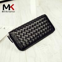 【到手价:49元】莫尔克(MERKEL)新款编织纹女手包拉链钱包长款女士手机包休闲手抓包手拿包