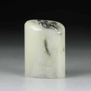 寿山老性芙蓉石 精雕五子登科印章 jd1904