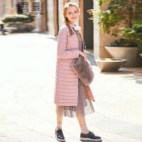 香影羽绒服女中长款 2017冬新款时尚修身外衣韩版格纹显瘦外套潮+