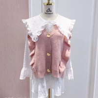 单件/套装马甲背心娃娃领衬衫2019韩版宽松针织衫毛衣女学生