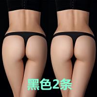 2018新品丁字裤女性感一片式欧美无痕内裤红色款运动真人情趣T裤性感潮流 黑色 2条