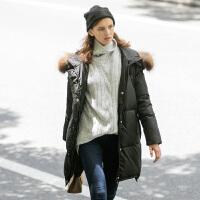 唐狮2016冬装新款羽绒服 女中长款可拆卸帽羽绒服