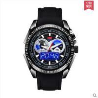 男士数字指针双显夜光电子表时尚硅胶表带多功能运动精钢手表