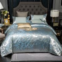 床上用品四件套冰丝纯棉欧式提花北欧风被套全棉床单丝滑