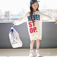 秋季新款韩版童装中长款卫衣女童经典时尚长卫衣印花童卫衣