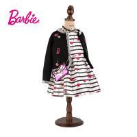 【满减】芭比童装女童春装小香风黑色外套绣花织章中大童开衫