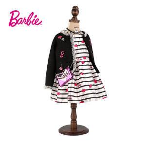 【满200减110】芭比童装女童秋装小香风黑色外套绣花织章中大童开衫