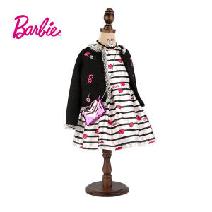 【满100减50】芭比童装女童春装小香风黑色外套绣花织章中大童开衫