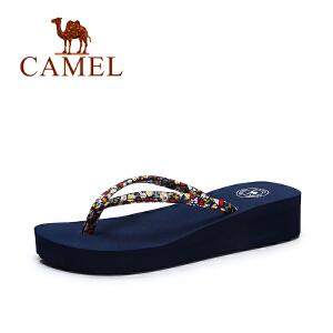 camel骆驼女鞋  夏季新款 甜美碎花凉鞋女 沙滩休闲百搭人字拖