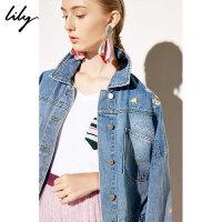 Lily春新款女装商务绣花OL宽松落肩袖单排扣牛仔短外套3906