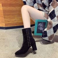靴子女2019冬季加绒薄绒尖头高跟鞋粗细跟中筒短靴女铆钉绒面鞋子 AM018黑色 35 标准码