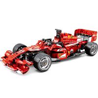 儿童积木F1方程式遥控电动赛车超跑车模型益智玩具