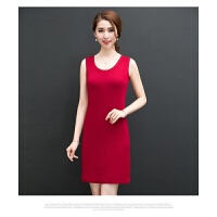 中年女装夏季 吊带背心打底连衣裙宽松遮肚子纯色无袖背心裙