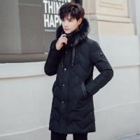 男士棉衣中长款2018冬季新款韩版学生加厚毛领棉袄连帽外套男 黑色 L