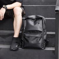 墨一背包男士时尚潮流双肩包小学生书包潮男pu皮休闲男包旅行包中