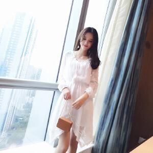 谜秀连衣裙女2017秋季新款韩版修身气质V领不规则下摆两件套裙子