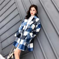班图诗妮 2018秋冬简约小个子毛呢外套女中长款羊毛呢子大衣