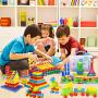 【满199减100】儿童环保益智塑料拼插雪花片塑料积木聪明棒3~6岁玩具收纳盒装男孩女孩生日六一儿童节礼物礼品