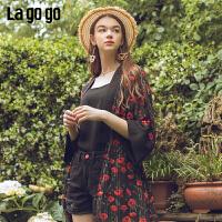 Lagogo/拉谷谷2019新款撞色复古蕾丝镂空上衣女IACC305C21