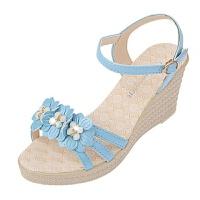 坡跟凉鞋女鞋子女学生高跟厚底夏季新款中跟平底鞋女凉鞋休闲百搭
