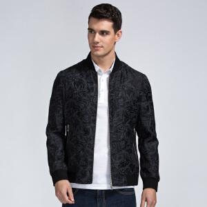 才子男装(TRIES)夹克 男士2017年新款黑色简约碎花修身版都市时尚休闲夹克外套