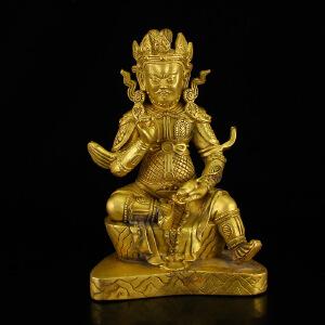 民间收藏铜鎏金打造藏传佛像摆件