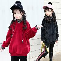 女童冬装中长款卫衣大套头衫儿童加绒外套