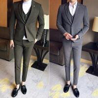 秋季气质绅士熟男休闲小西服套装韩版修身纯色发型师西装三件套潮