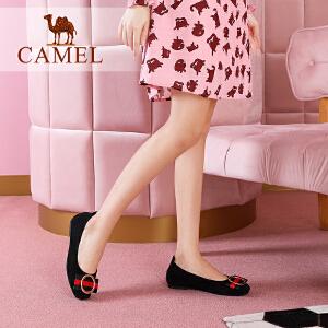 Camel/骆驼女鞋 2018春季新款 优雅甜美金属圆环扣饰平底单鞋女