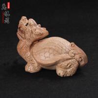 桃木木雕龙龟母子龟催官无漆桃木龙龟工艺礼品摆件