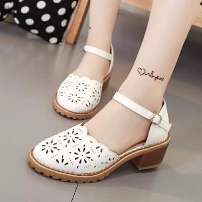 包头凉鞋女夏季2019新款韩版女式平跟学生一字带镂空粗跟凉鞋女