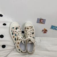 街拍帆布鞋女学生韩版原宿风板鞋港风ulzzang潮bf风百搭布板鞋潮 白色
