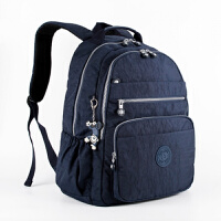 20180830120508283新款洗水尼龙布女包多层口袋大容量双肩包 中号旅行背包休闲书包