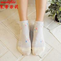 茉蒂菲莉 短袜 女式新款棉质水果动物素色船袜女士浅口休闲卡通浅色系隐形袜时尚袜子(5双装)