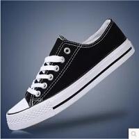 夏季白色系带板鞋日常休闲黑色男鞋低帮休闲帆布鞋子耐磨平跟红色