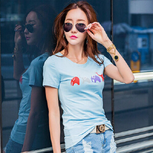 夏季简约短袖T恤女韩版修身半袖T��上衣学生百搭打底衫白色体恤棉ZY3828