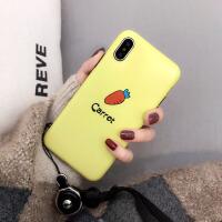 风萝卜xsmax苹果x手机壳7plus硅胶iphone8挂绳6s可爱卡通女 6/6S 4.7寸