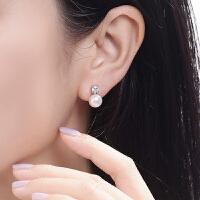银耳钉淡水珍珠耳环银针韩国气质女士简约百搭银耳饰品